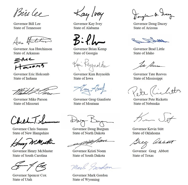 20 governors sign letter to joe biden